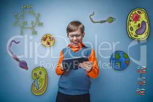 Boy retro style sunglasses laughing and working on a tablet joyf