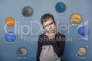 Teenage boy in glasses thinking thoughts of the planet of the so