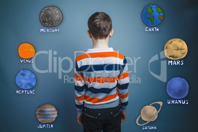 teenager boy turned his back on the planets of the solar system