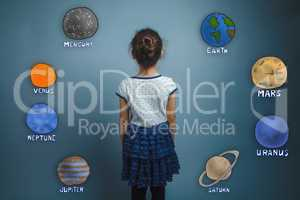 the girl turned away and stands quietly planets of the solar sys