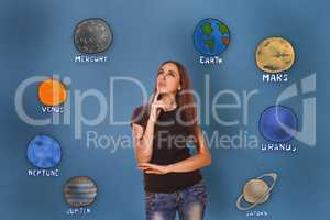 woman hand holding chin and looking up wondering planets of the