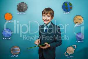youth teenager boy laughing businessman holds hand tablet planet