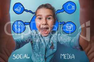 Self happiness girl child social media infographics sketch Inter