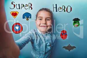 hand girl smile super hero super power at the photo studio Icon