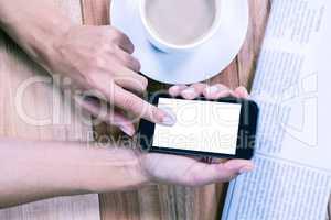 Part of hands using smartphone