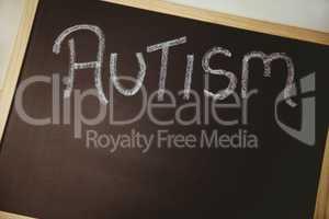 Autism drawn on blackboard
