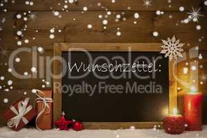 Christmas Card, Blackboard, Snowflakes, Wunschzettel, Wish List