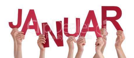 People Holding German Word Januar Means January
