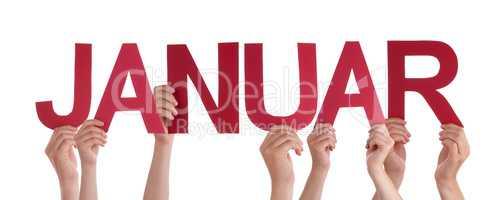 People Holding Straight German Word Januar Means January