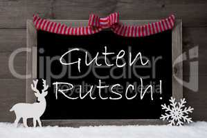 Gray Christmas Card, Snow, Loop, Guten Rutsch Mean New Year