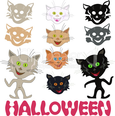 Halloween set of funny cats and feline masks