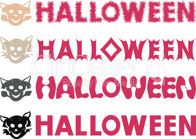 Halloween inscriptions and feline stencils