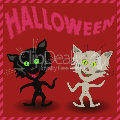 Inscription Halloween and two amusing cats