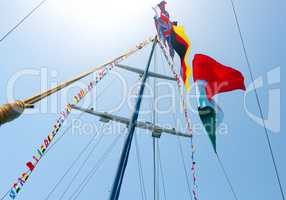 Flags on mast