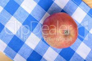 Red apple top view on blue material background