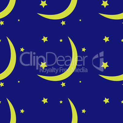 Seamless pattern of the moon and stars