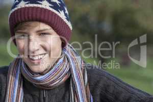 Happy Boy Male Child Teenager Hat & Scarf