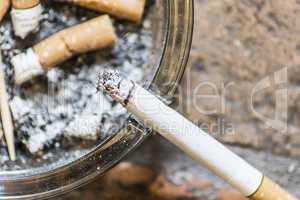 Cigarettes on ashtray