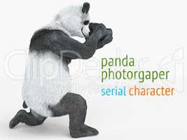 panda animail character photographer camera takes picture isolated background 3d cg render illustration