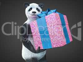 panda animail character gift box surprise holidays standing on dark background isolated download buy picture
