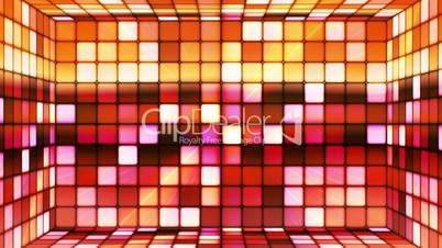 Broadcast Twinkling Hi-Tech Cubes Room, Red Yellow, Abstract, Loopable, HD