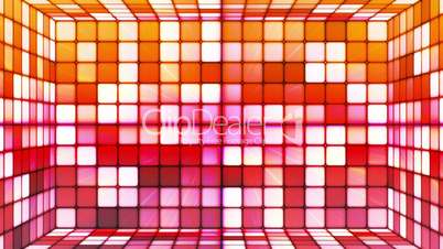 Broadcast Twinkling Hi-Tech Cubes Room, Red Orange, Abstract, Loopable, HD