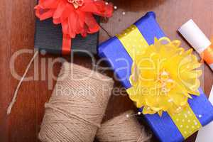 color gift boxes on wooden background
