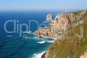Scenic rocks at sea coast on Cabo Da Roca, Portugal