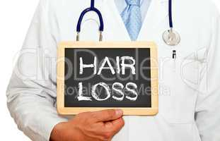 Hair Loss - Doctor with chalkboard
