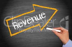 Revenue - arrow with text