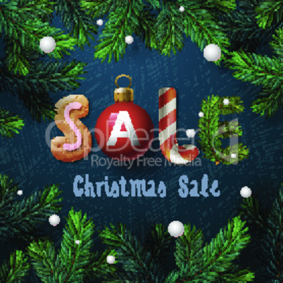 Christmas sale bakcground, promotional poster for Christmas sale, vector illustration.