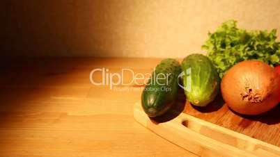 Fresh vegetables on a board