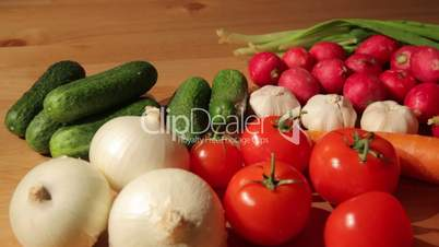 Various vegetables on wooden table