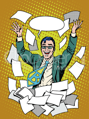 Business success happy businessman among the papers