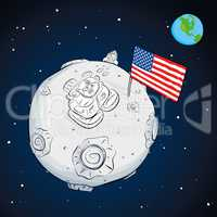 astronaut with flag USA on the moon color