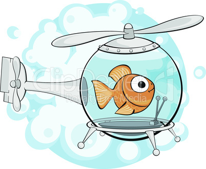 gold fish in helicopter.eps