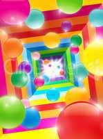 colored balls in a color tunnel