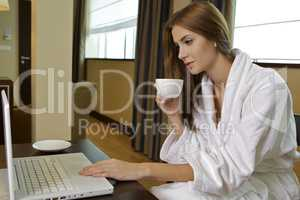 young adult brunette woman starting day