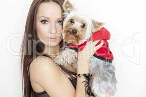 girl with cute yorkshire terrier dog