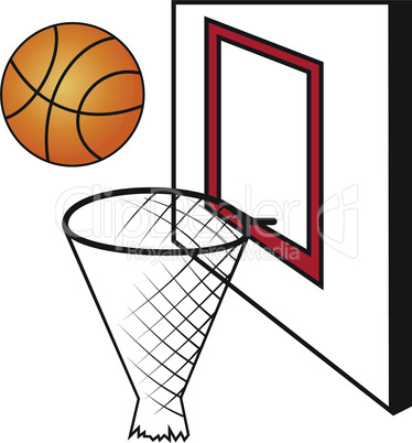 Basketball board with a basket and a ball
