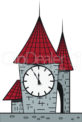 Cartoon castle with a clock