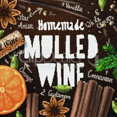 Christmas drink mulled wine, recipe of drink and ingredients, vector illustration.