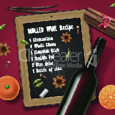 Christmas drink mulled wine, bottle of wine and ingredients, vector illustration.