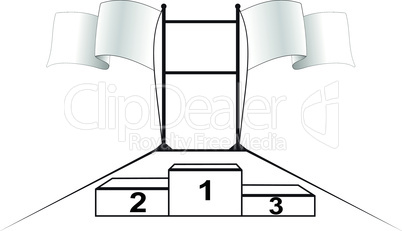 Scoreboard competitions with flags and pedestal