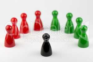 Conceptual game pawns.