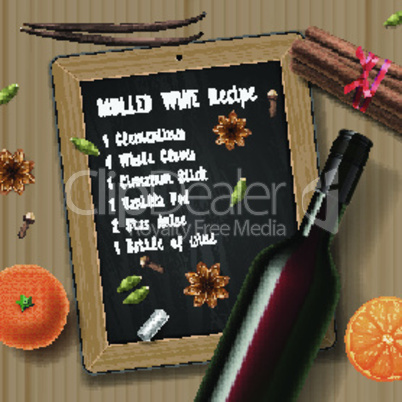 Christmas drink mulled wine, bottle of wine and recipe, vector illustration.