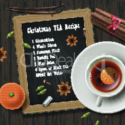 Christmas tea with spices, recipe mulled wine tea, cup of tea, vector illustration.