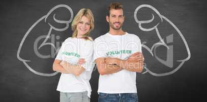Composite image of portrait of two happy volunteers with hands c