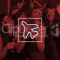 Composite image of attractive women wearing masks holding champagne