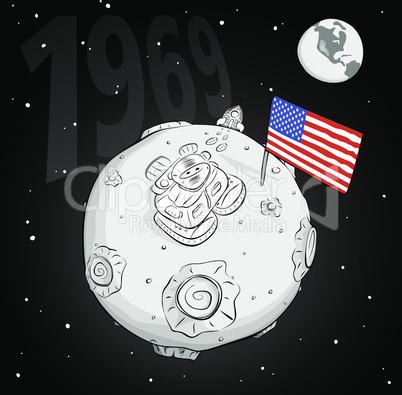 astronaut with flag USA on the moon bw